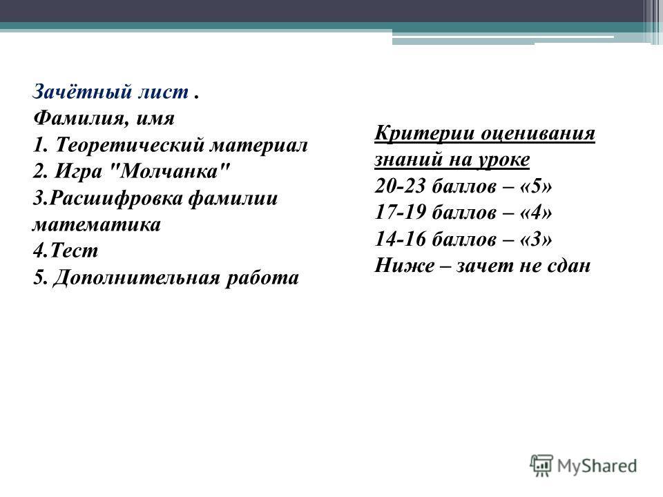 Критерии оценивания знаний на уроке 20-23 баллов – «5» 17-19 баллов – «4» 14-16 баллов – «3» Ниже – зачет не сдан Зачётный лист. Фамилия, имя 1. Теоретический материал 2. Игра