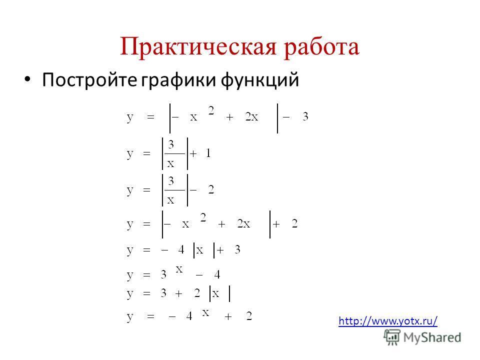 Практическая работа Постройте графики функций http://www.yotx.ru/
