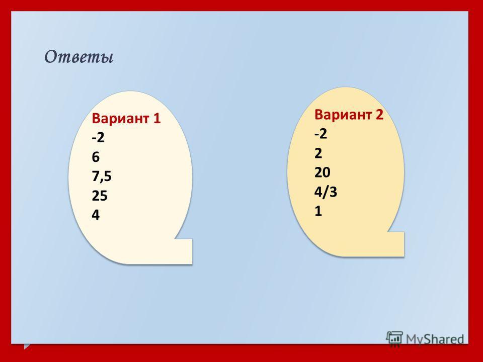 Ответы Вариант 1 -2 6 7,5 25 4 Вариант 2 -2 2 20 4/3 1