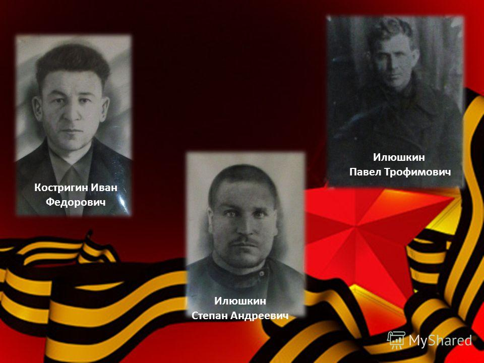 Костригин Иван Федорович Илюшкин Степан Андреевич Илюшкин Павел Трофимович