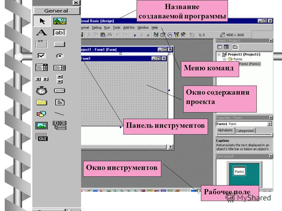 Название создаваемой программы Меню команд Панель инструментов Рабочее поле Окно инструментов Окно содержания проекта