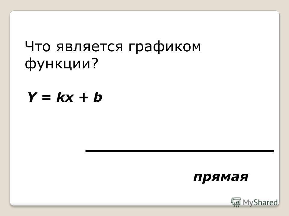 Что является графиком функции? Y = kx + b прямая