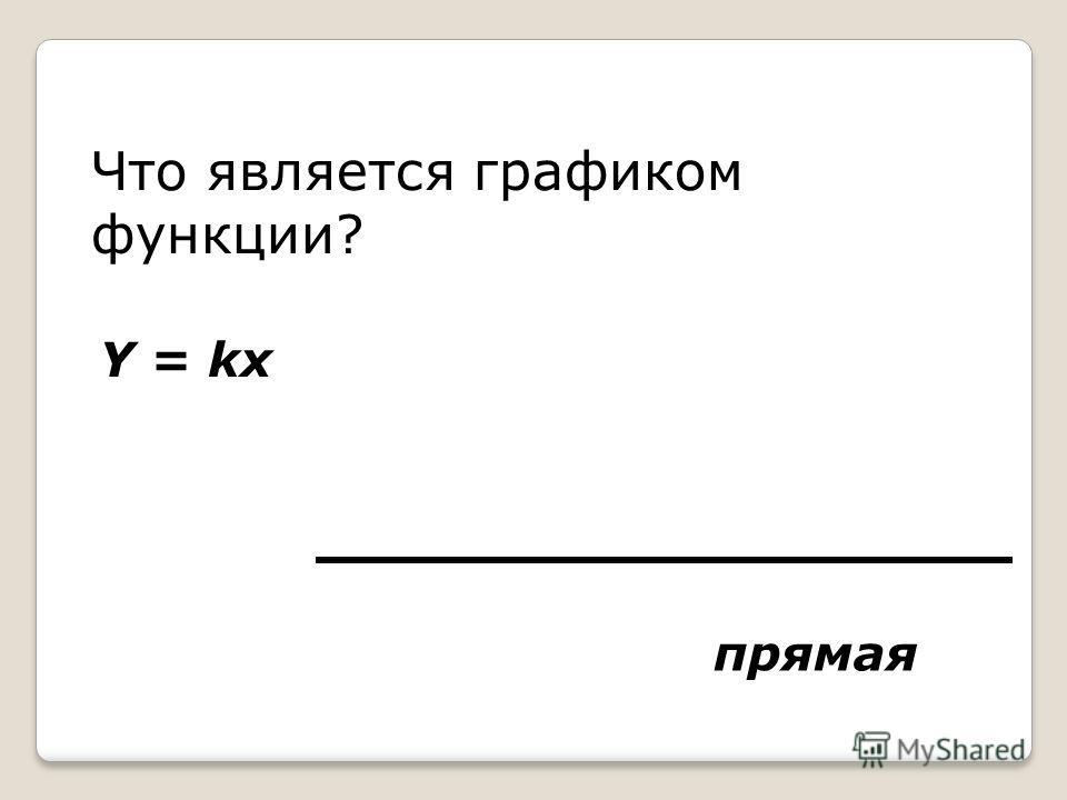 Что является графиком функции? Y = kx прямая