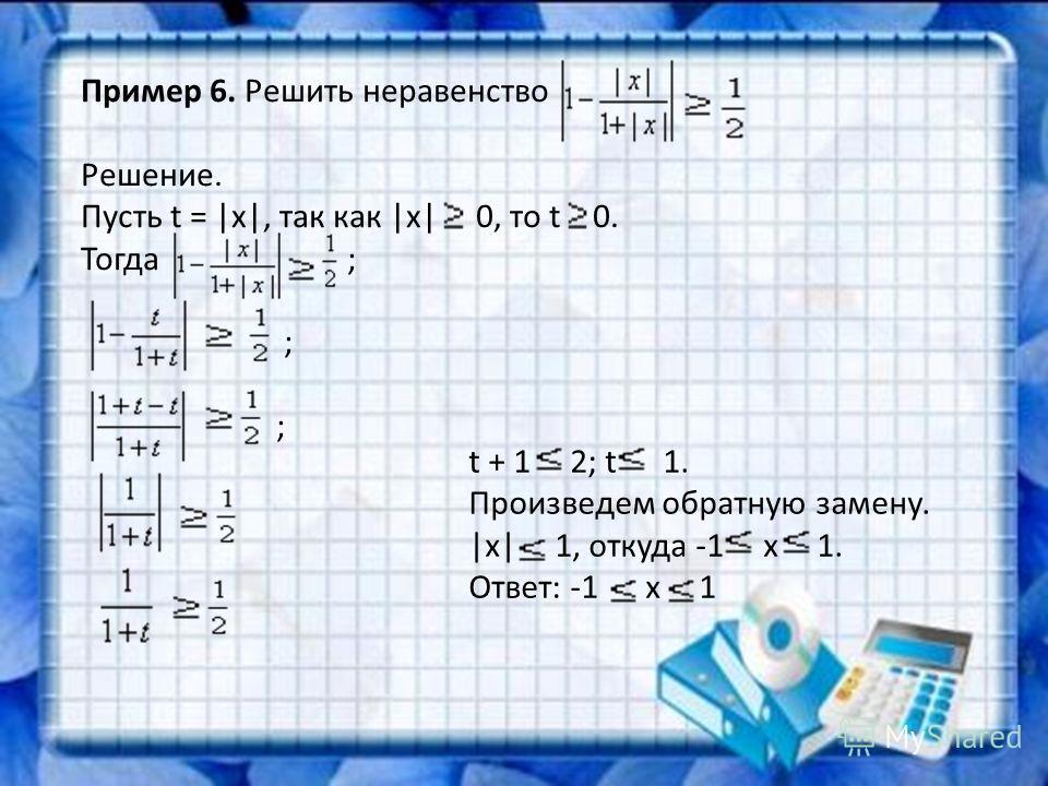 Пример 6. Решить неравенство Решение. Пусть t =  x , так как  x  0, то t 0. Тогда ; ; ; t + 1 2; t 1. Произведем обратную замену.  x  1, откуда -1 х 1. Ответ: -1 х 1