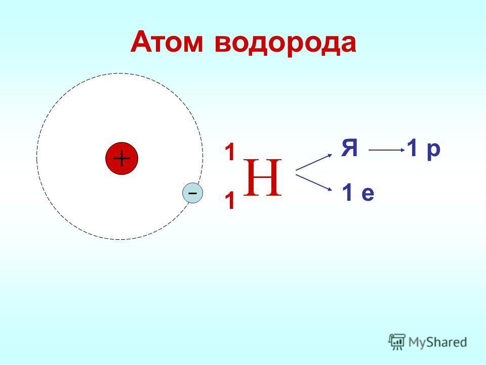 Атом водорода 1 рЯ 1 е 1 1