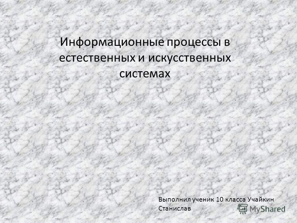 Информационные процессы в естественных и искусственных системах Выполнил ученик 10 класса Учайкин Станислав