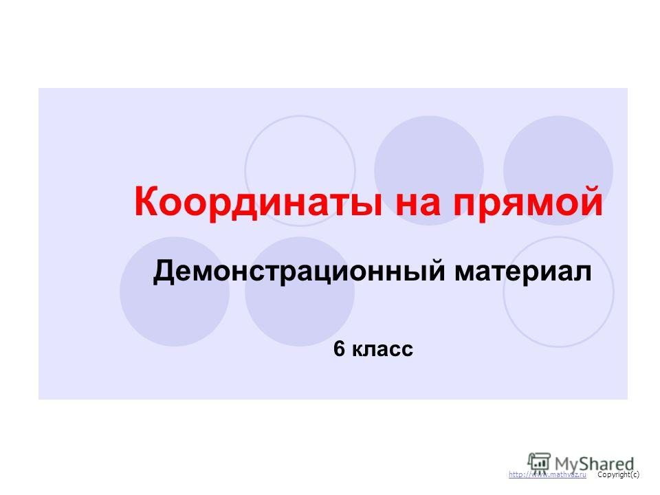 Координаты на прямой Демонстрационный материал 6 класс http://www.mathvaz.ru Copyright(c)