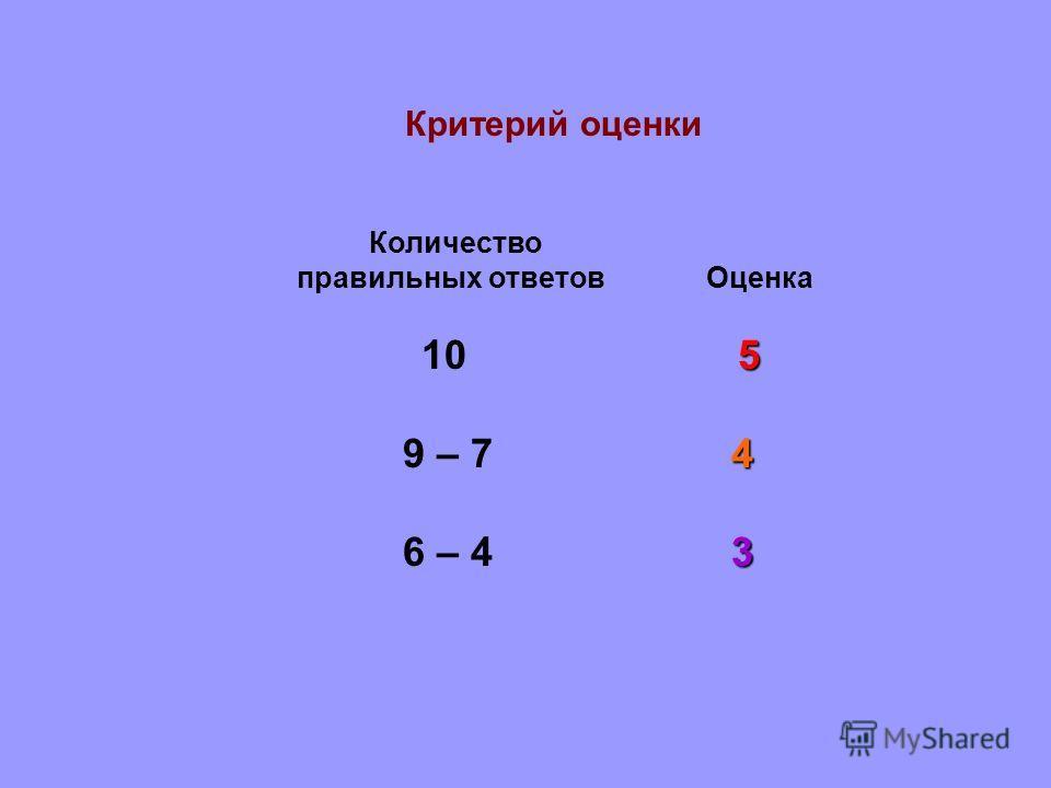 Критерий оценки Количество правильных ответов Оценка 5 10 5 4 9 – 7 4 3 6 – 4 3