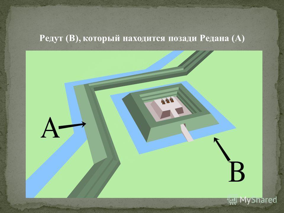 Редут (B), который находится позади Редана (A)