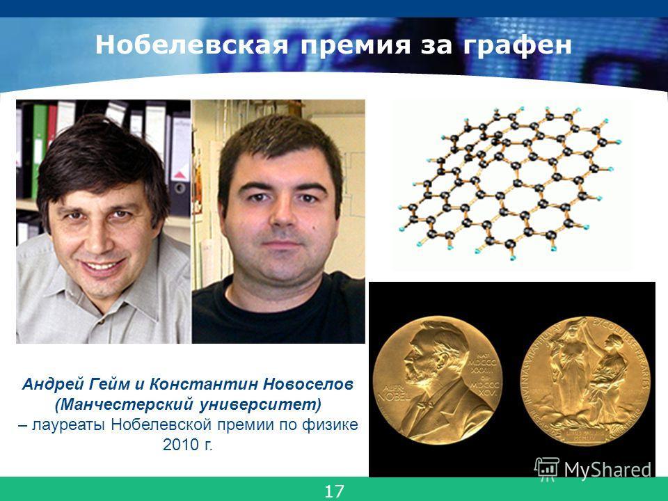 COMPANY LOGO Нобелевская премия за графен Андрей Гейм и Константин Новоселов (Манчестерский университет) – лауреаты Нобелевской премии по физике 2010 г. 22 17
