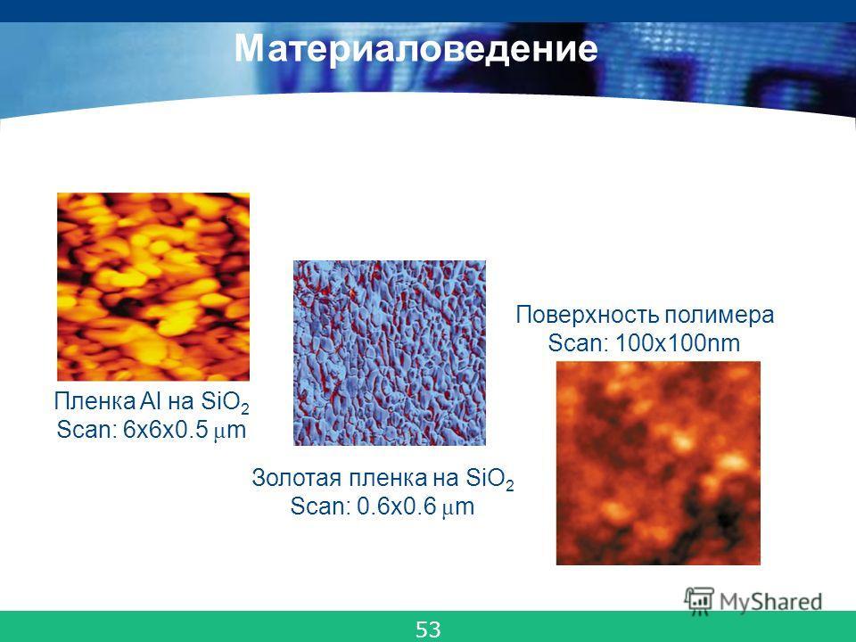 COMPANY LOGO Металлы, полупроводники, диэлектрики, композитные материалы, полимеры Пленка Al на SiO 2 Scan: 6x6x0.5 μ m Золотая пленка на SiO 2 Scan: 0.6x0.6 μ m Поверхность полимера Scan: 100x100nm Материаловедение 53