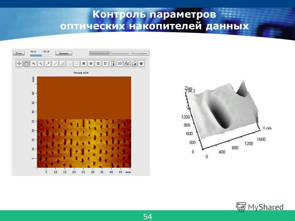 COMPANY LOGO Контроль параметров оптических накопителей данных 54