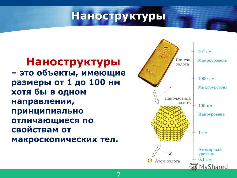 COMPANY LOGO Наноструктуры Наноструктуры – это объекты, имеющие размеры от 1 до 100 нм хотя бы в одном направлении, принципиально отличающиеся по свойствам от макроскопических тел. 7