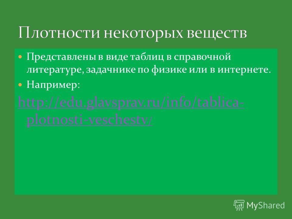 Представлены в виде таблиц в справочной литературе, задачнике по физике или в интернете. Например: http://edu.glavsprav.ru/info/tablica- plotnosti-veschestv /