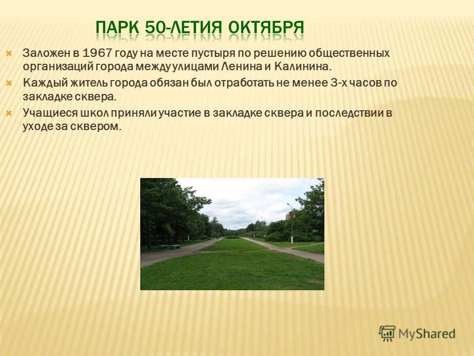Заложен в 1967 году на месте пустыря по решению общественных организаций города между улицами Ленина и Калинина. Каждый житель города обязан был отработать не менее 3-х часов по закладке сквера. Учащиеся школ приняли участие в закладке сквера и после