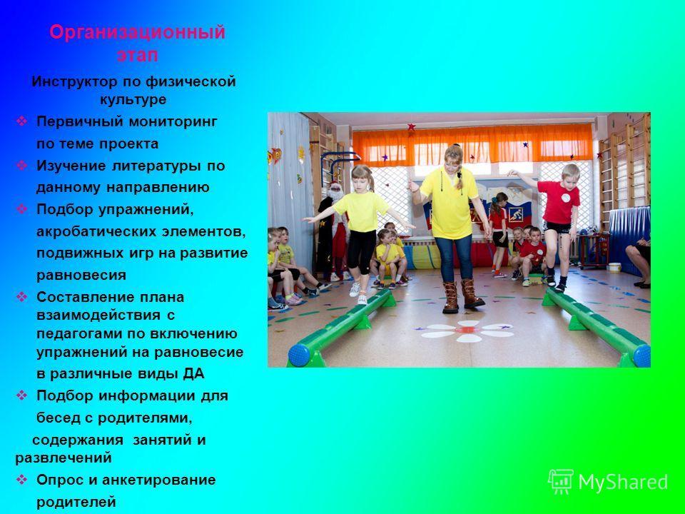 Организационный этап Инструктор по физической культуре Первичный мониторинг по теме проекта Изучение литературы по данному направлению Подбор упражнений, акробатических элементов, подвижных игр на развитие равновесия Составление плана взаимодействия