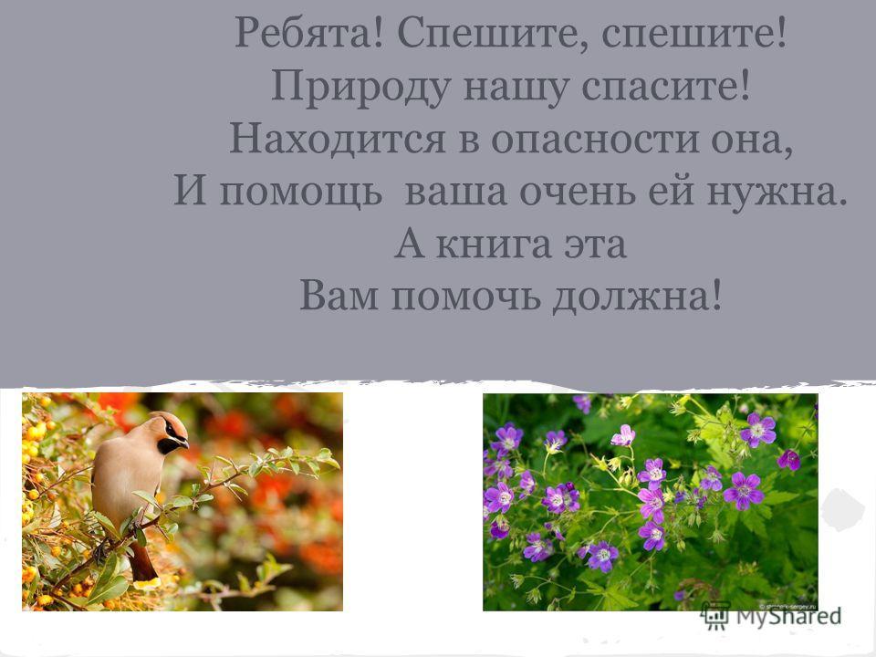 Ребята! Спешите, спешите! Природу нашу спасите! Находится в опасности она, И помощь ваша очень ей нужна. А книга эта Вам помочь должна!