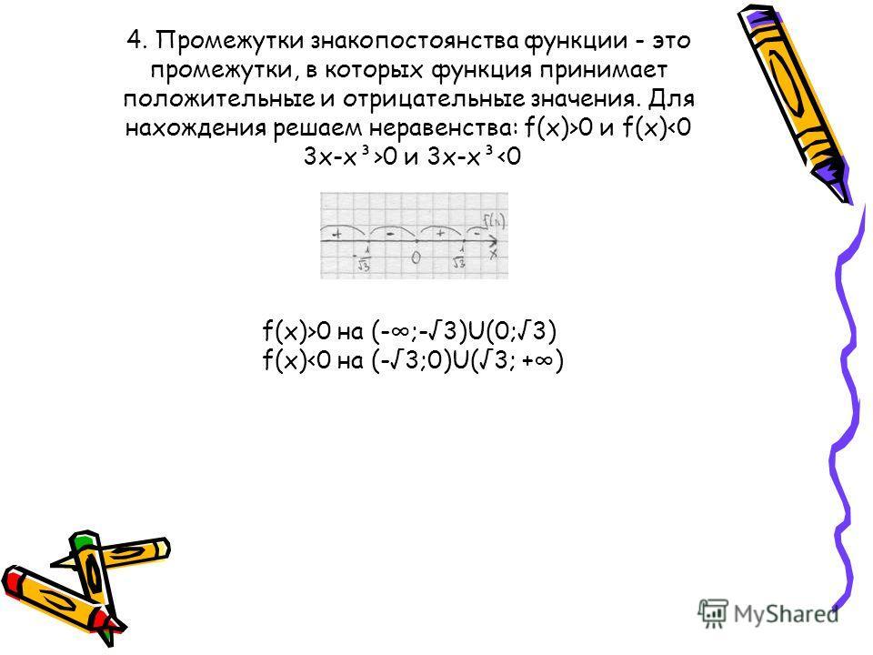 4. Промежутки знакопостоянства функции - это промежутки, в которых функция принимает положительные и отрицательные значения. Для нахождения решаем неравенства: f(x)>0 и f(x) 0 и 3x-x³ 0 на (-;-3)U(0;3) f(x)