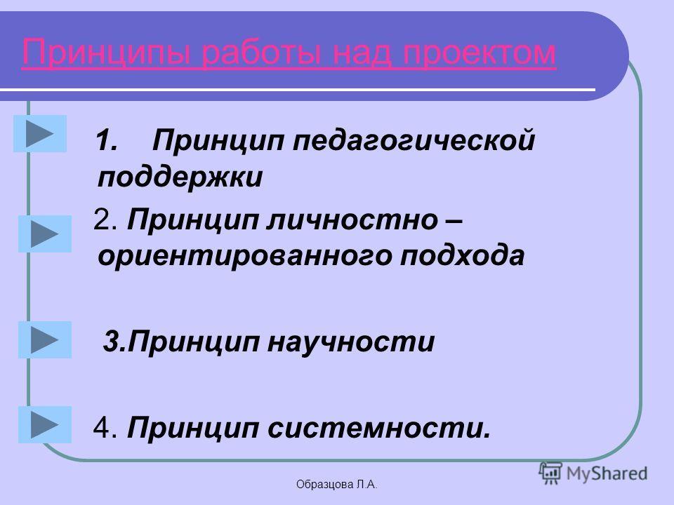 Образцова Л.А. Принципы работы над проектом 1. Принцип педагогической поддержки 2. Принцип личностно – ориентированного подхода 3.Принцип научности 4. Принцип системности.