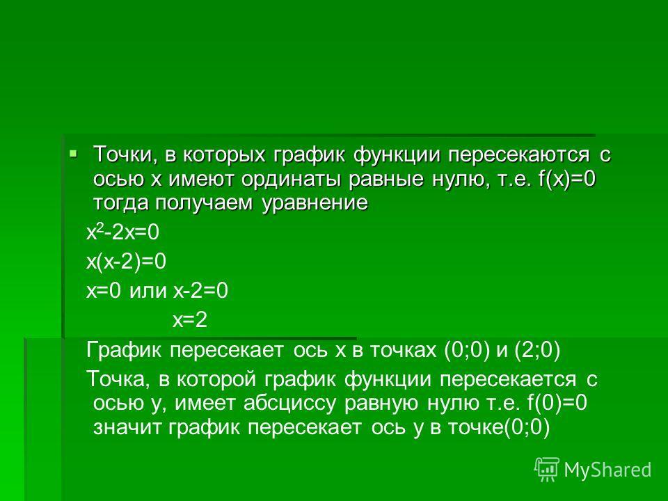 Точки, в которых график функции пересекаются с осью х имеют ординаты равные нулю, т.е. f(x)=0 тогда получаем уравнение Точки, в которых график функции пересекаются с осью х имеют ординаты равные нулю, т.е. f(x)=0 тогда получаем уравнение х 2 -2х=0 х(