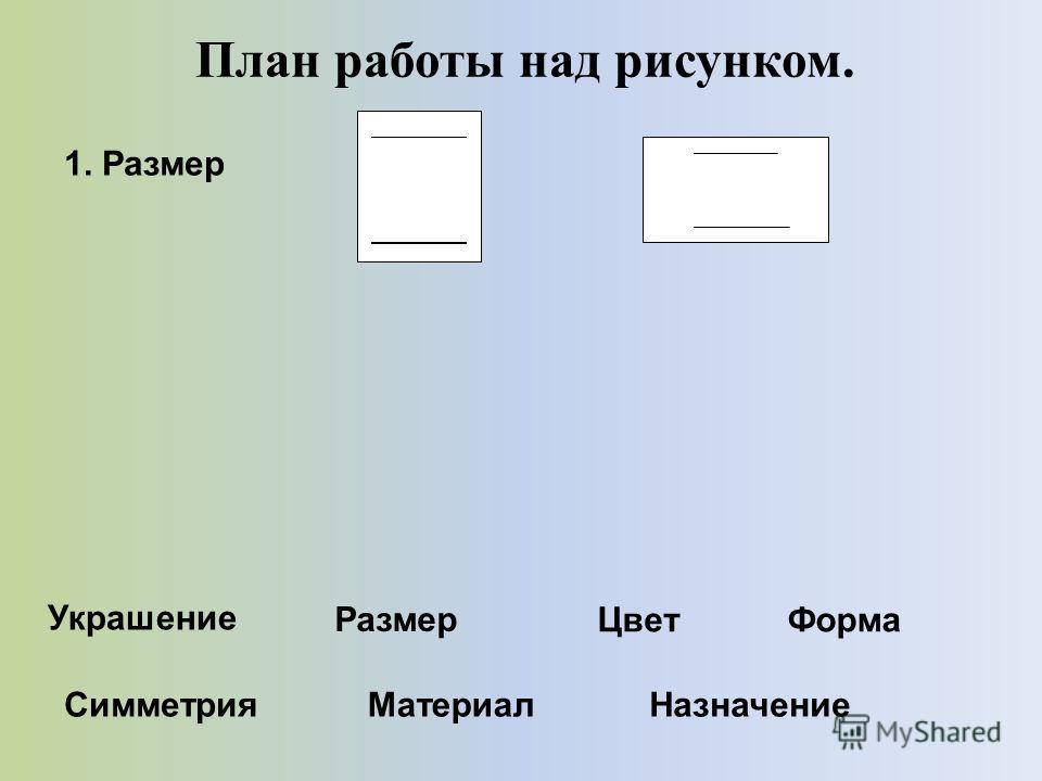 План работы над рисунком. 1. Размер Украшение Размер ЦветФорма СимметрияМатериалНазначение