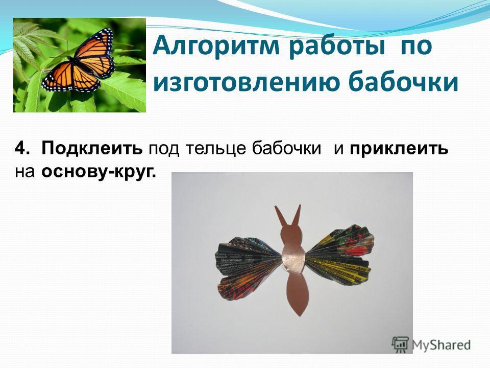 Алгоритм работы по изготовлению бабочки 4. Подклеить под тельце бабочки и приклеить на основу-круг.