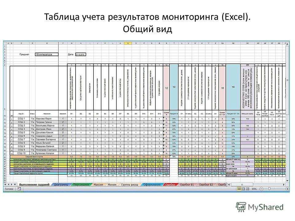 Таблица учета результатов мониторинга (Excel). Общий вид