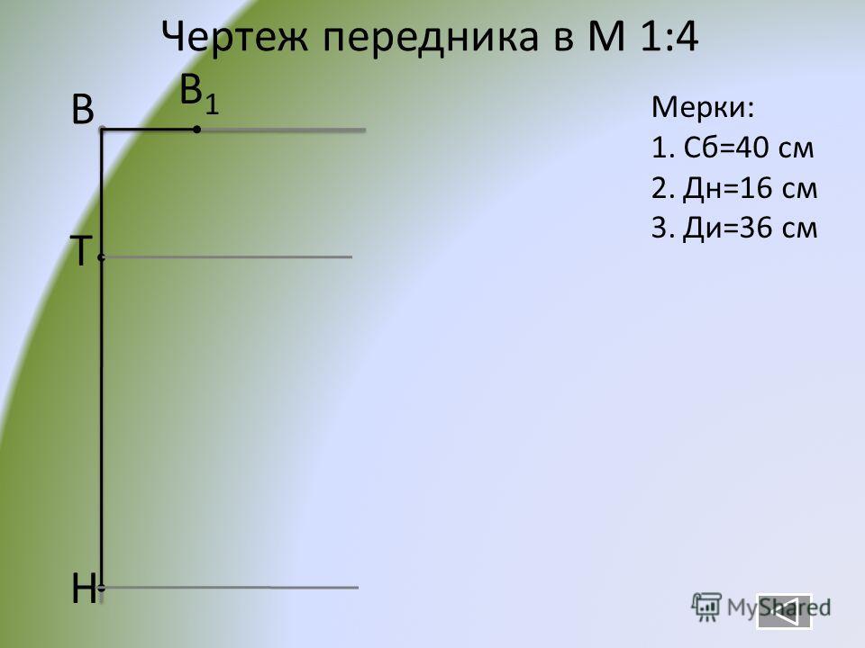 Чертеж передника в М 1:4 В Т Н В1В1 Мерки: 1.Сб=40 см 2.Дн=16 см 3.Ди=36 см