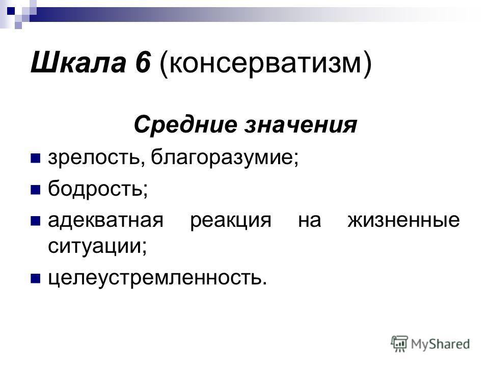 Шкала 6 (консерватизм) Средние значения зрелость, благоразумие; бодрость; адекватная реакция на жизненные ситуации; целеустремленность.