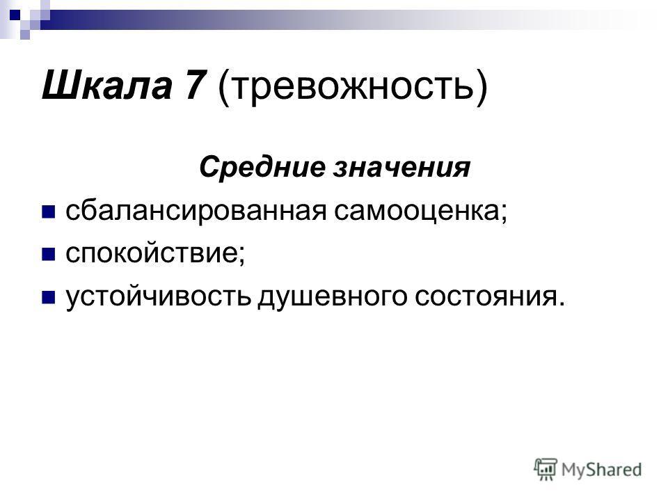 Шкала 7 (тревожность) Средние значения сбалансированная самооценка; спокойствие; устойчивость душевного состояния.