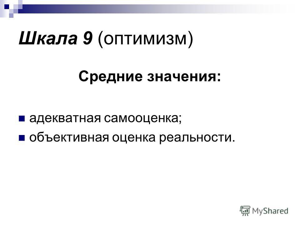 Шкала 9 (оптимизм) Средние значения: адекватная самооценка; объективная оценка реальности.