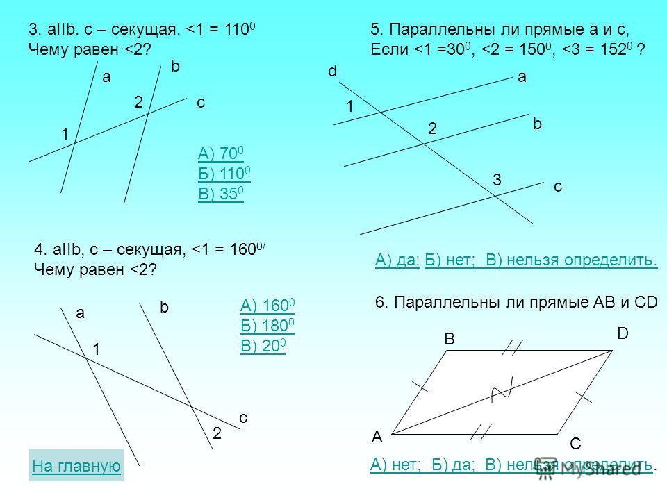Тест по теме «Параллельные прямые» a b c 1 2 1. aIIb. c - секущая Какое из утверждений верно: А)
