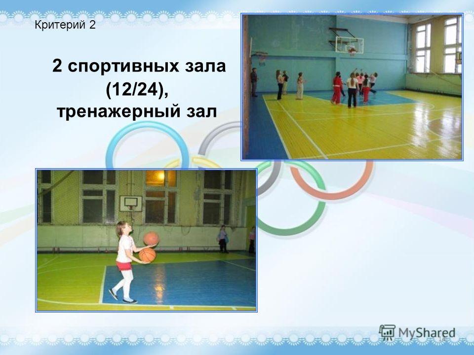 2 спортивных зала (12/24), тренажерный зал 14 Критерий 2
