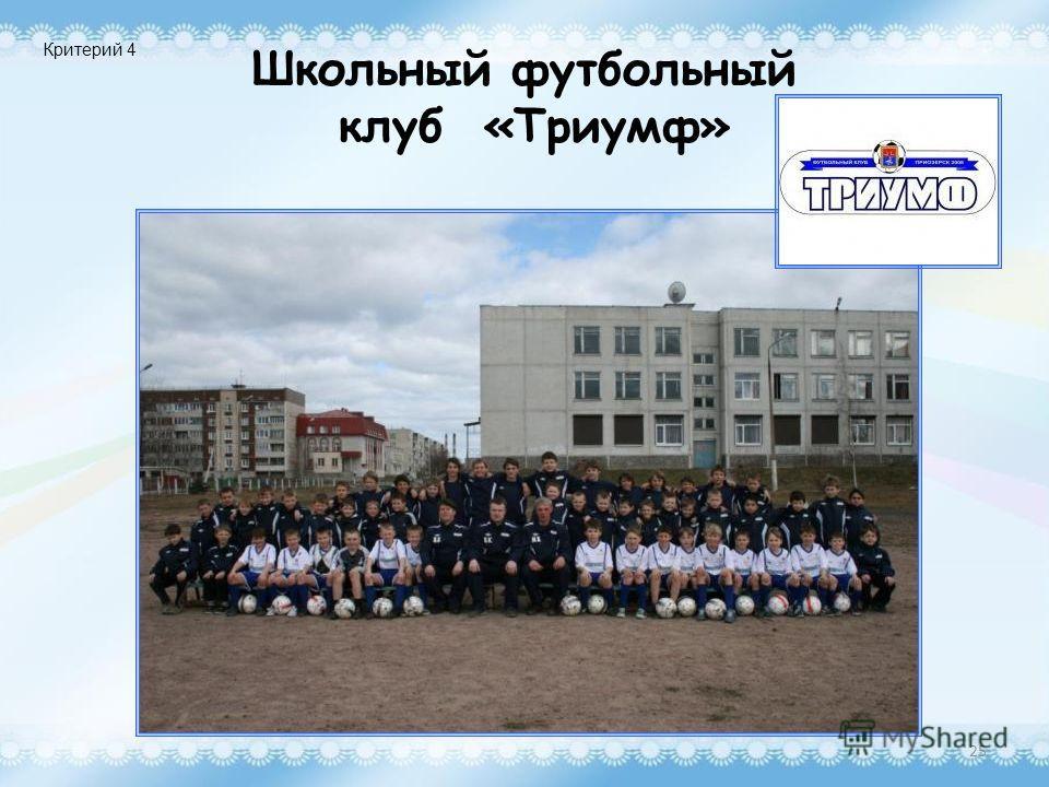 Школьный футбольный клуб «Триумф» 25 Критерий 4