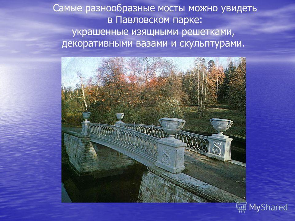 Самые разнообразные мосты можно увидеть в Павловском парке: украшенные изящными решетками, декоративными вазами и скульптурами.