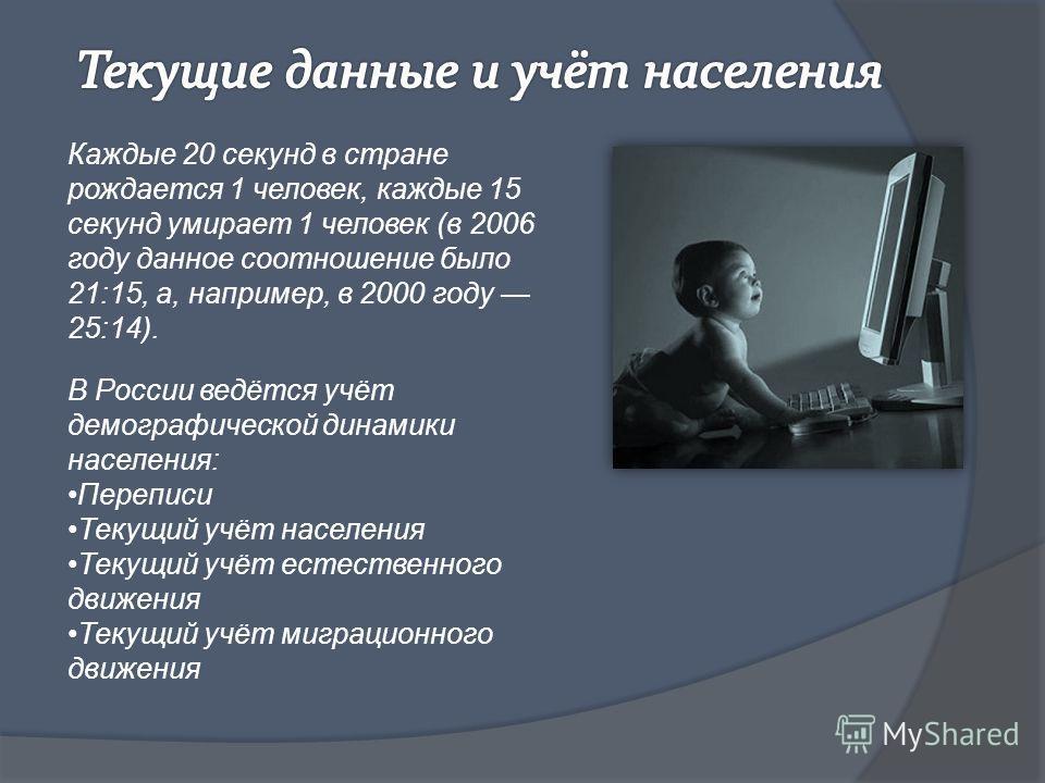 Каждые 20 секунд в стране рождается 1 человек, каждые 15 секунд умирает 1 человек (в 2006 году данное соотношение было 21:15, а, например, в 2000 году 25:14). В России ведётся учёт демографической динамики населения: Переписи Текущий учёт населения Т