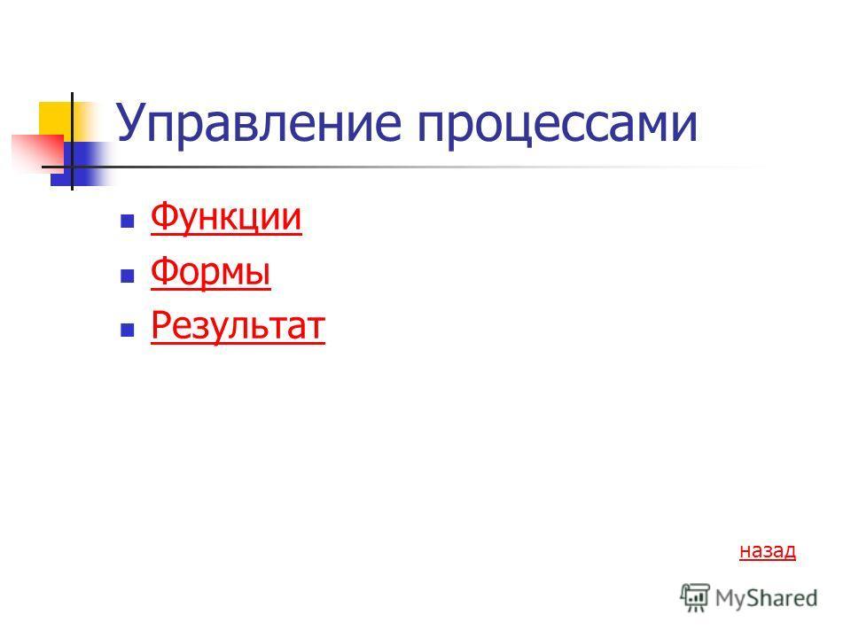 Управление процессами Функции Формы Результат назад