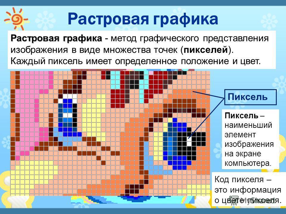 Растровая графика Растровая графика - метод графического представления изображения в виде множества точек (пикселей). Каждый пиксель имеет определенное положение и цвет. Пиксель Код пикселя – это информация о цвете пикселя. Пиксель – наименьший элеме