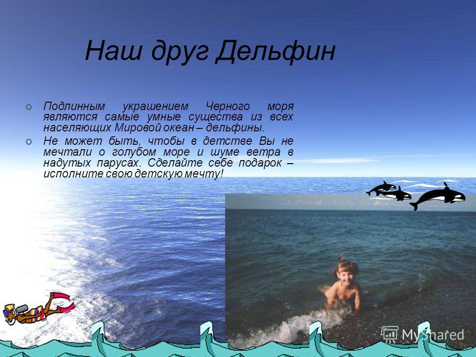 Наш друг Дельфин Подлинным украшением Черного моря являются самые умные существа из всех населяющих Мировой океан – дельфины. Не может быть, чтобы в детстве Вы не мечтали о голубом море и шуме ветра в надутых парусах. Сделайте себе подарок – исполнит