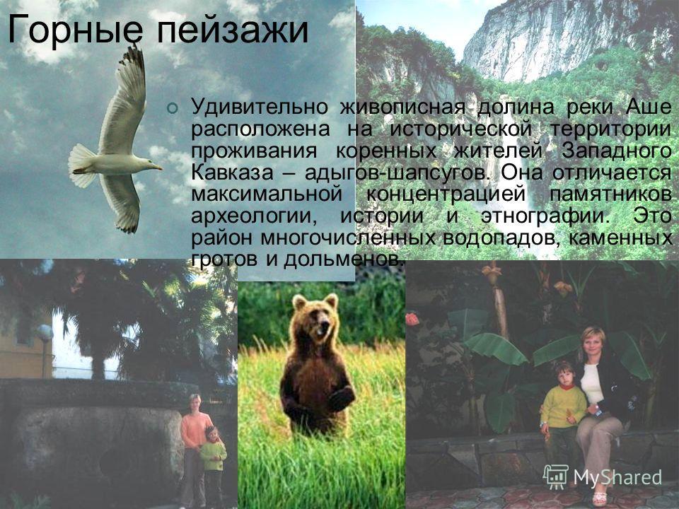 Горные пейзажи Удивительно живописная долина реки Аше расположена на исторической территории проживания коренных жителей Западного Кавказа – адыгов-шапсугов. Она отличается максимальной концентрацией памятников археологии, истории и этнографии. Это р