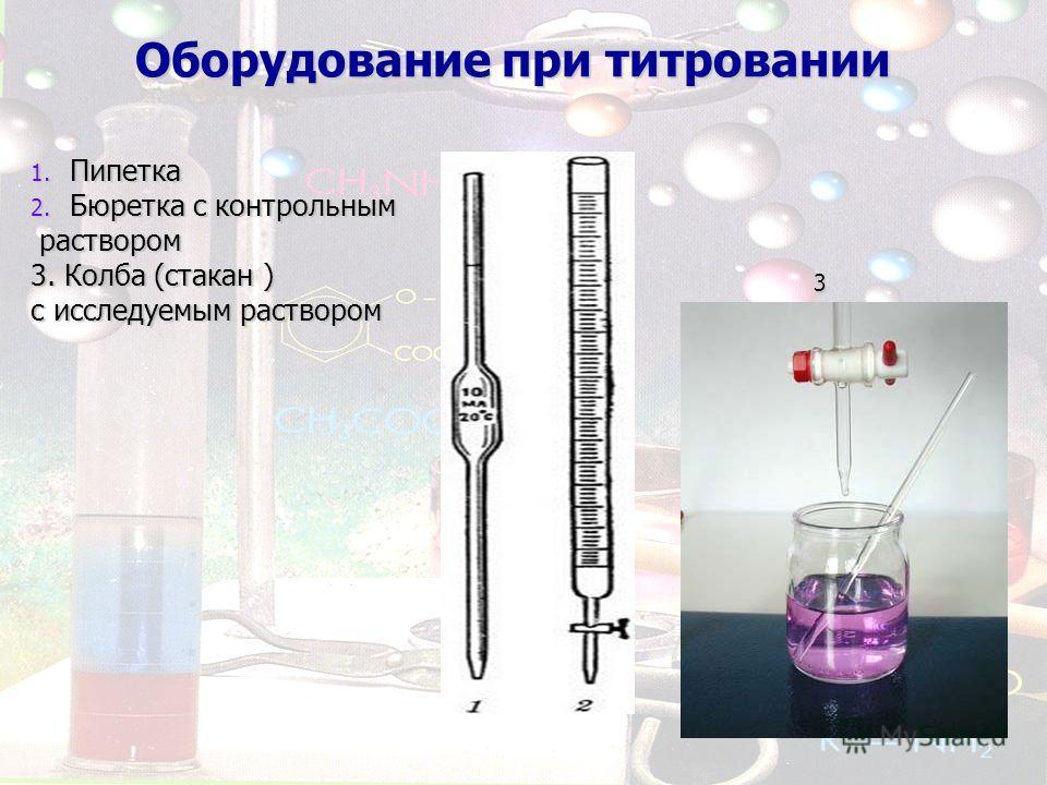 Оборудование при титровании 1. Пипетка 2. Бюретка с контрольным раствором раствором 3. Колба (стакан ) с исследуемым раствором 3