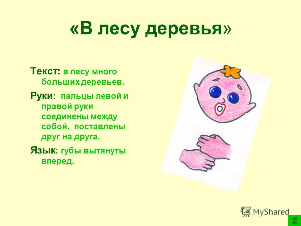«В лесу деревья» Текст: в лесу много больших деревьев. Руки : пальцы левой и правой руки соединены между собой, поставлены друг на друга. Язык : губы вытянуты вперед.
