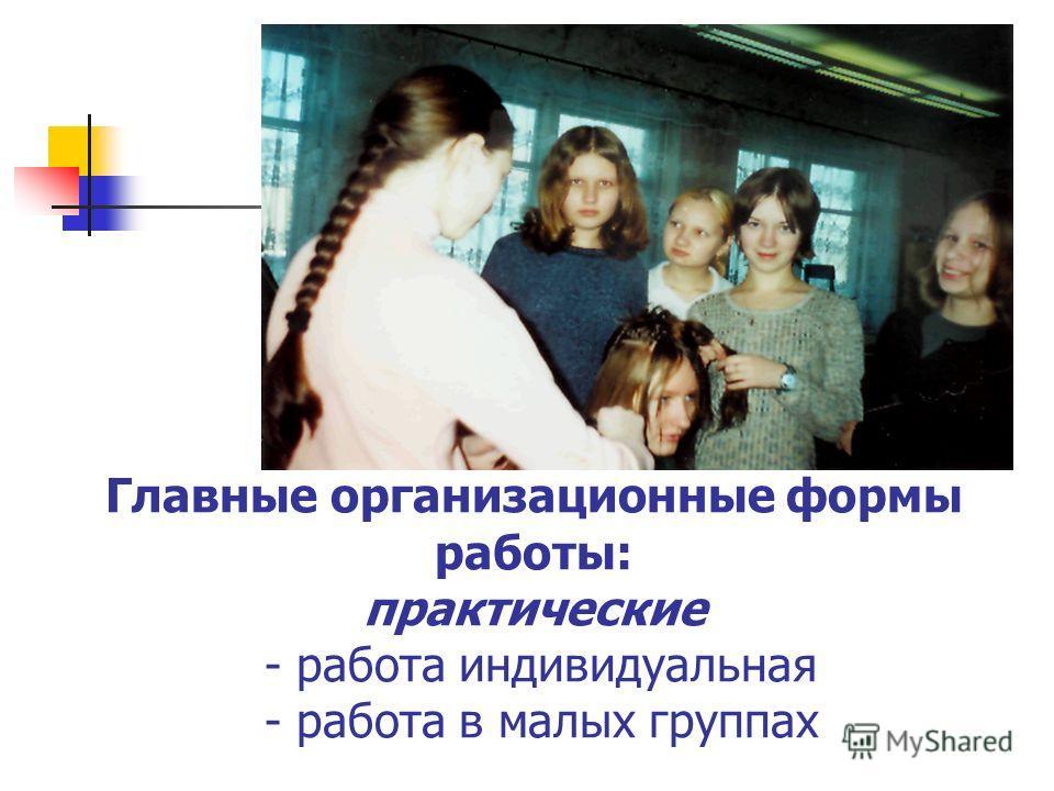 Главные организационные формы работы: практические - работа индивидуальная - работа в малых группах