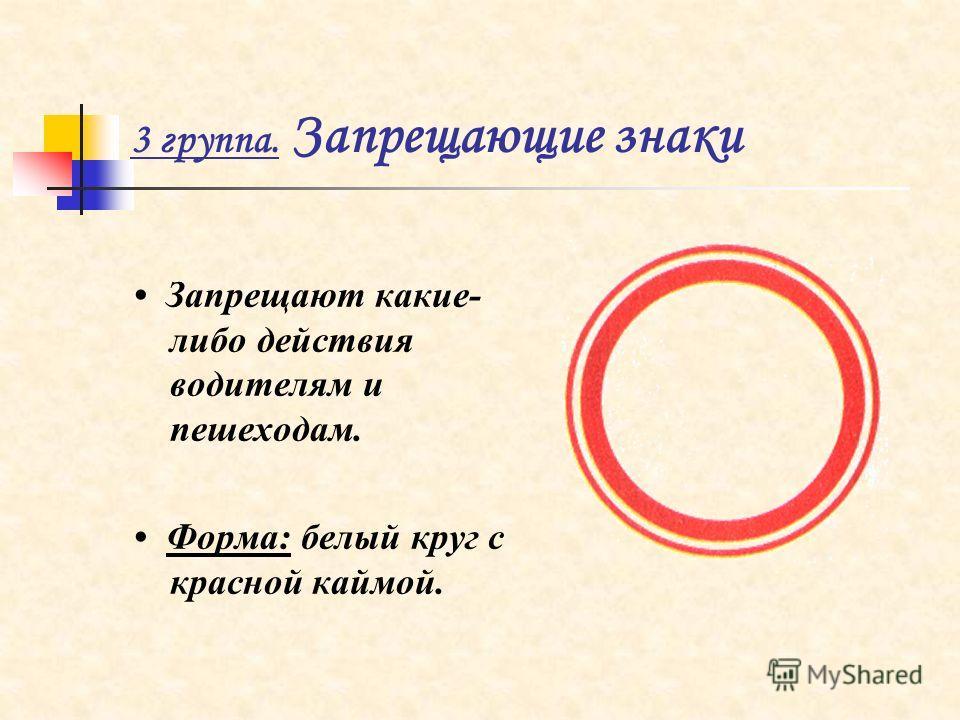 3 группа. Запрещающие знаки Запрещают какие- либо действия водителям и пешеходам. Форма: белый круг с красной каймой.