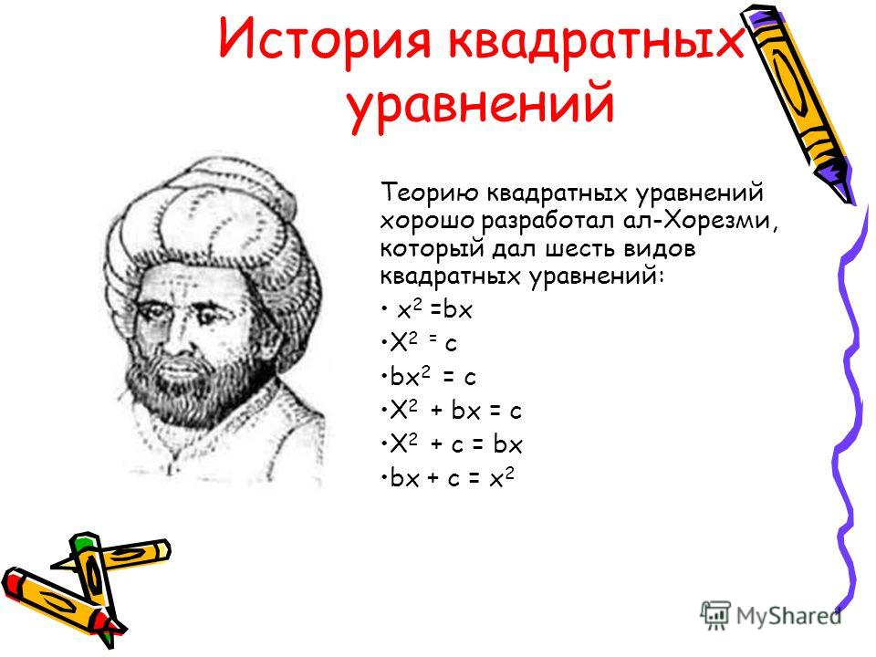 История квадратных уравнений Теорию квадратных уравнений хорошо разработал ал-Хорезми, который дал шесть видов квадратных уравнений: x 2 =bx X 2 = c bx 2 = c X 2 + bx = c X 2 + c = bx bx + c = x 2