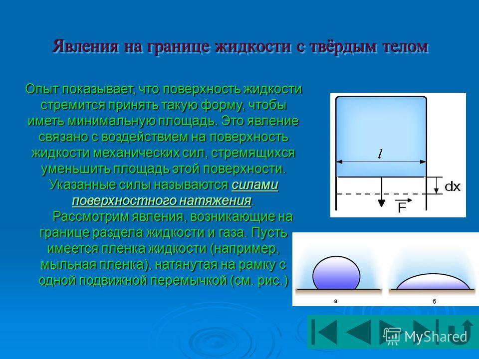 Поверхностное натяжение. Энергия поверхностного слоя жидкости Капиллярность (поверхностное натяжение) – это свойство жидкости изменять положение ее поверхности, вызванное натяжением и силой взаимодействия между нею и стенками трубок или мелкими порам