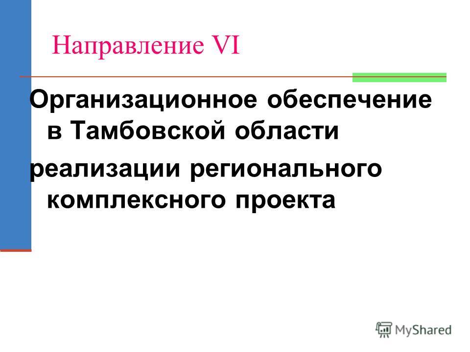 Направление VI Организационное обеспечение в Тамбовской области реализации регионального комплексного проекта