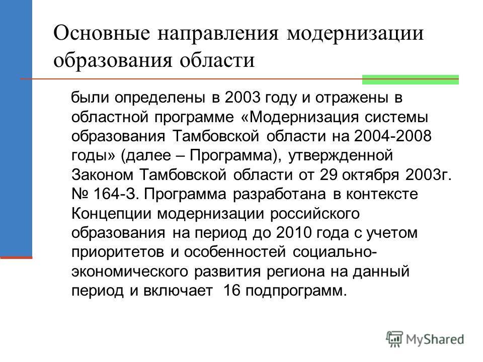 Основные направления модернизации образования области были определены в 2003 году и отражены в областной программе «Модернизация системы образования Тамбовской области на 2004-2008 годы» (далее – Программа), утвержденной Законом Тамбовской области от