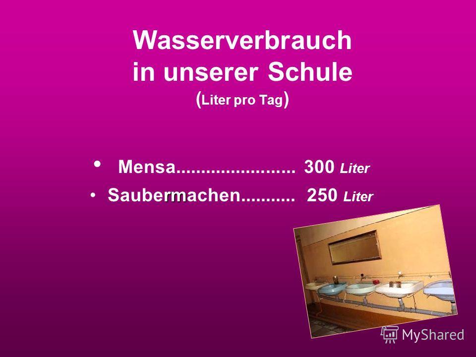Wasserverbrauch in unserer Schule ( Liter pro Tag ) Mensa........................ 300 Liter rmSaubermachen........... 250 Liter