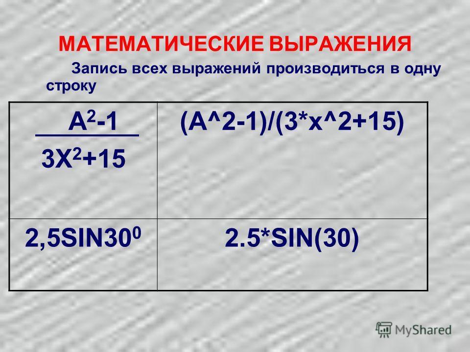 МАТЕМАТИЧЕСКИЕ ВЫРАЖЕНИЯ Запись всех выражений производиться в одну строку A 2 -1 3X 2 +15 (A^2-1)/(3*x^2+15) 2,5SIN30 0 2.5*SIN(30)